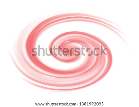 Radial curvy yoghurt fond with space for text in glowing center. Whirl pale red eddy syrup surface. Appetizing mix rose color of redcurrant, cowberry yogurt sign icon emblem logo symbol pictogram