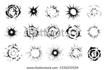 Radial explosion silhouette. Exploding bursts, round explosions cloud and exploded bomb effect black silhouettes. Explosion burst dust, power bombs explode effect. Isolated symbols graphic vector set