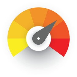 Radial gauge scale from yellow to red with arrow hand pointer. Satisfaction, temperature, risk, rating, performance and feedback indicator or speed tachometer. Vector illustration.