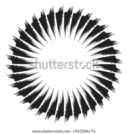 Radial grungy, textured beams, rays, lines abstract vector illustration element stock photo