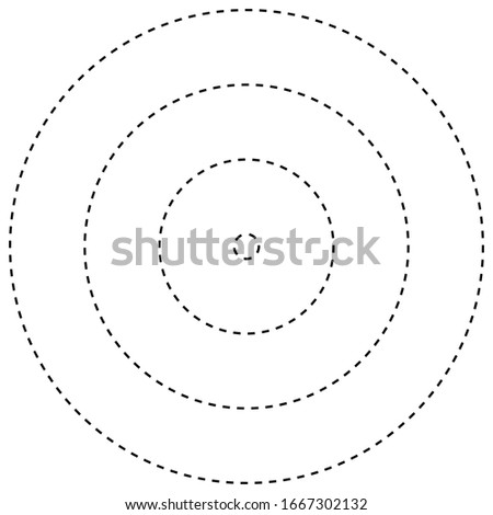 Radial, radiating, converging circular rings of dashed line circles. Periodic, infrequent bits, particles. orbiting dashed line circles