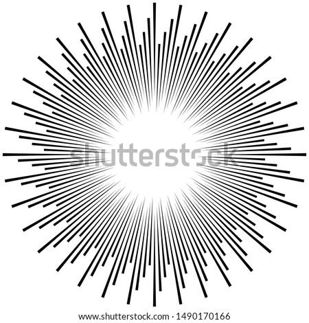 Radial ray, beam lines. Circular radiation stripes pattern. Gleam, sparkle effect. Glaze, flare design. Sunburst, starburst concentric lines as radiance, glitter illustration