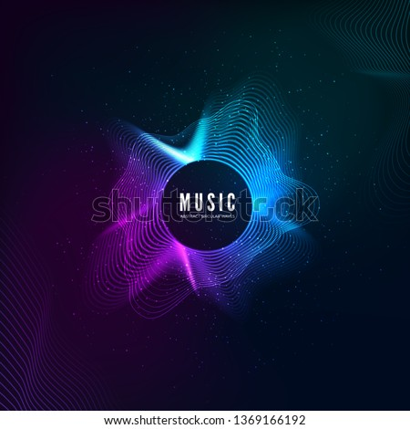 Radial sound wave curve with light particles. Colorful equalizer background. Abstract colorful cover for music poster and banner. Vector