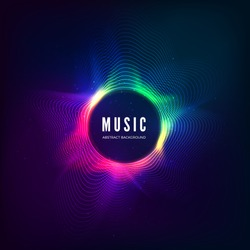 Radial sound wave curve with light particles. Colorful equalizer visualisation. Abstract colorful cover for music poster and banner. Vector illustration