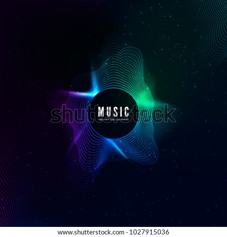 Radial sound wave curve with light particles. Colorful equalizer visualisation. Abstract colorful cover for music poster and banner. Vector background