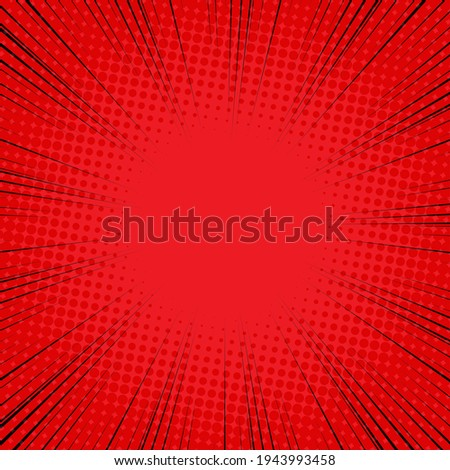Radial Speed Line background. Illustration of a flash or glare. Concentration in the center of the composition. Vector illustration. Comic book black and red radial lines background. Halftone. Stock photo ©