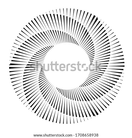 Radial speed Lines in Spiral Form for comic books . fireworks Explosion background . Vector Illustration . Starburst  round Logo . Circular Design element . Abstract Geometric star rays . Sunburst . Stock photo ©