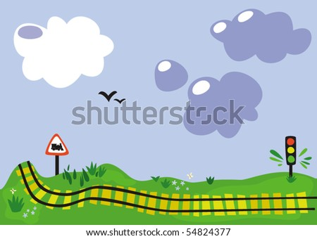 Radiant future. Landscape with clouds, birds and railway.