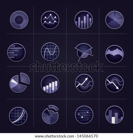 Radiant graph icons on dark background