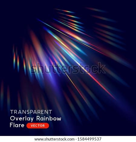Radiant rainbow lens light leak flare. Vector illustration.