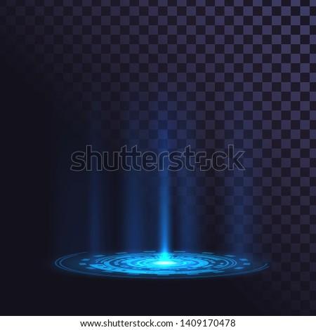 Radiant round element on the floor, futuristic pedestal, laser