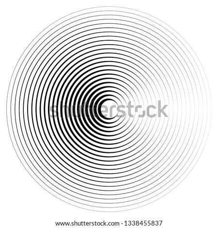Radiating, concentric circles abstract monochrome vector graphic. Vector illustration for design your website and print