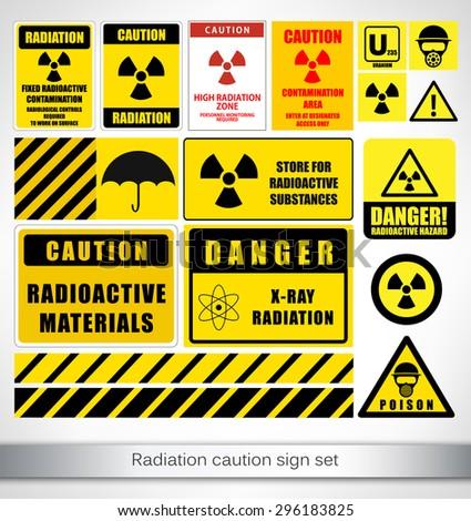 radiation caution sign set