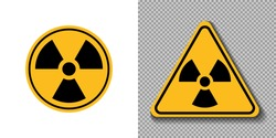 Radiation Hazard sign, symbol, icon, logo. Circle and triangle yellow sign of radioactive threat alert on white and trasparent background. Vector illustration