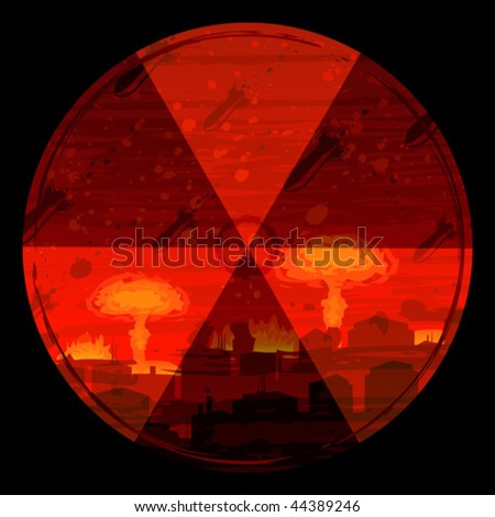 Radiation hazard warning sign against nuclear war background (full size background landscape id 44319379)