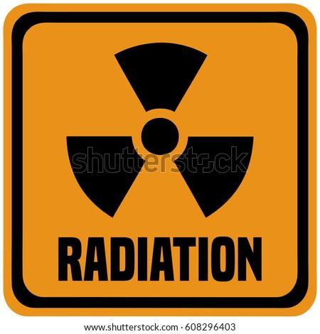 Stock Photo Radiation Industrial Warning Sign.