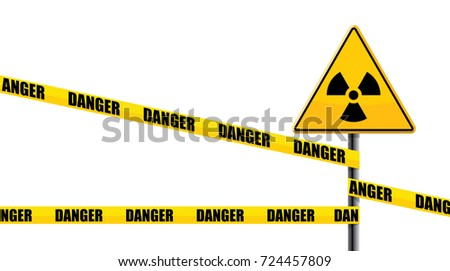 radiation road sign with danger