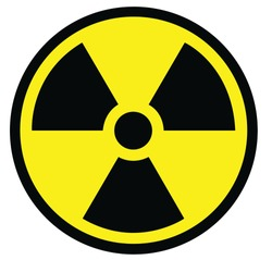 Radiation sign in yellow and black color circle  to ensure safety.