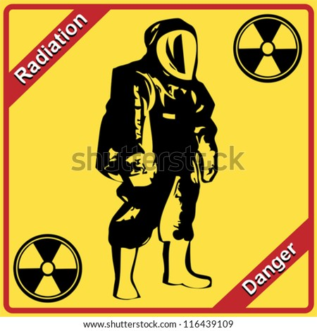 Radiation suit - sign radiation. Danger.