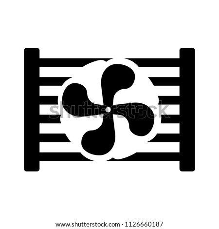 Radiator fan. Car parts and service vector illustration, auto service, repair, car detail