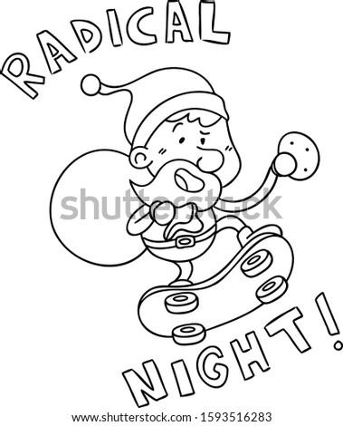radical santa riding a