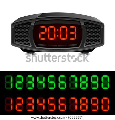 Radio alarm clock. Illustration isolated on white background.
