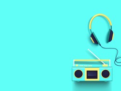 Radio and headphones on turquoise background. Top view. Vector illustration