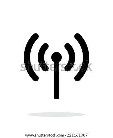 Radio antenna sending signal icon on white background. Wireless technology. Vector illustration.