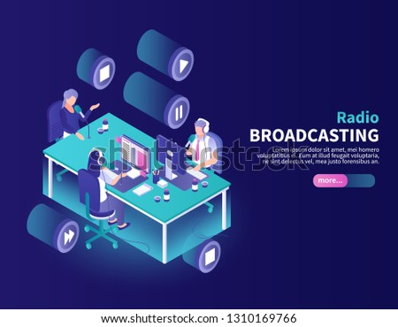 Radio broadcasting color background with announcer and newscasters at working place isometric vector illustration