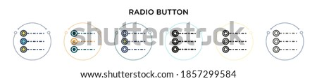 Radio button icon in filled, thin line, outline and stroke style. Vector illustration of two colored and black radio button vector icons designs can be used for mobile, ui, web