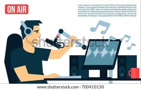 Radio Dj On Air in radio studio playing the music song Broadcasts cool flat design illustration