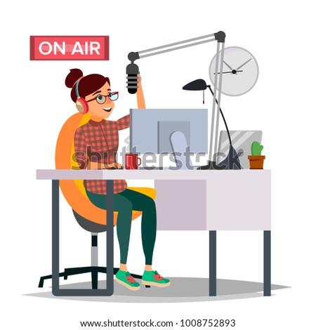 Radio DJ Woman Vector. Broadcasting. Modern Radio Station. Female Speak Into The Microphone. On Air. Broadcasting. Isolated Flat Cartoon Illustration