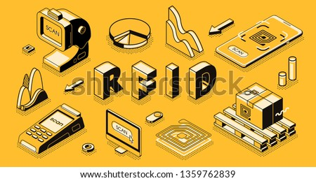 Radio frequency identification technology isometric vector concept with RFID reader or scanner, electromagnetic track tag on cardboard box, mobile app for business delivery, goods shipment tracking