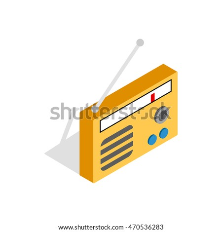 Radio icon logo. Isometric 3d illustration of radio icon logo isolated on white background