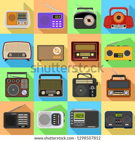 Radio icons set. Flat set of radio vector icons for web design