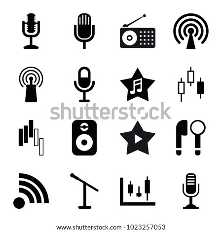 Radio icons. set of 16 editable filled radio icons such as microphone, panel control, control panel, signal, speaker, radio, wi-fi