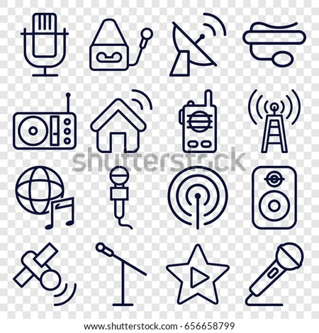 Radio icons set. set of 16 radio outline icons such as microphone, pin microphone, radio, favorite music, international music, speaker, signal, satellite, house signal