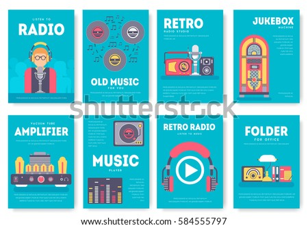 Radio life day brochure cards set. Old school tv equpment template of flyear, magazine, poster, book cover, booklet, banners. workspace in office invitation concept background. Layout  modern page