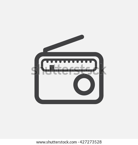 radio line icon, outline vector logo, linear pictogram isolated on white, pixel perfect symbol illustration