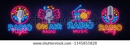 Radio Neon Sign collection Vector. Radio Night neon logos, design template, modern trend design, Radio neon signboard, night bright advertising, light banner, light art. Vector illustration