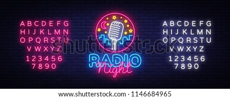radio night neon logo vector