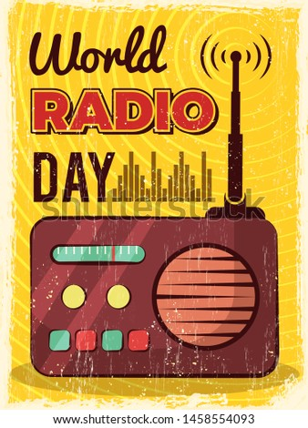 Radio poster. Microphone broadcast studio mic and speakers vector placard design. Illustration of world radio day poster, media sound communication