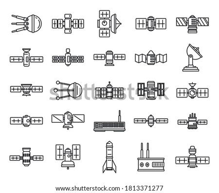 Radio satellite icons set. Outline set of radio satellite vector icons for web design isolated on white background