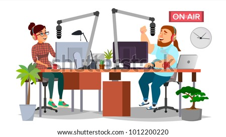 Radio Station DJ Man And Woman Vector. Broadcasting On Modern Radio Station Studio. Speak Into The Microphone. Journalist On Air. Broadcasting. Isolated Flat Cartoon Illustration