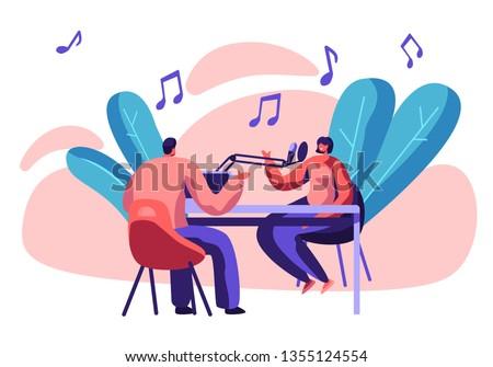 Radio Station Presenter with Microphone in Studio. Dj Jockey and Woman Host Play Music. Entertainment Broadcast for People Communication. Sound Record Horizontal Flat Cartoon Vector Illustration