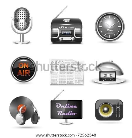 radio station vector icon set