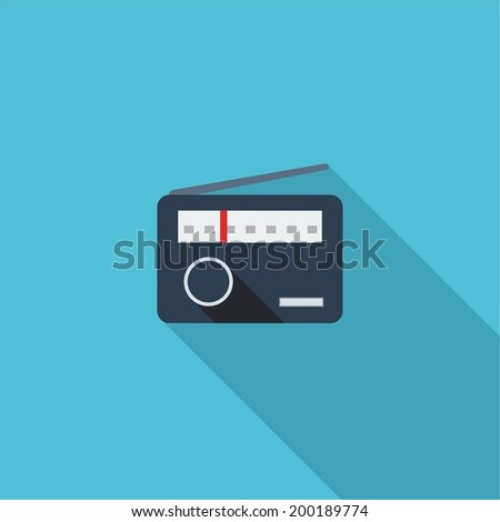 Radio symbol. Vector illustration of flat color icon with long shadow.