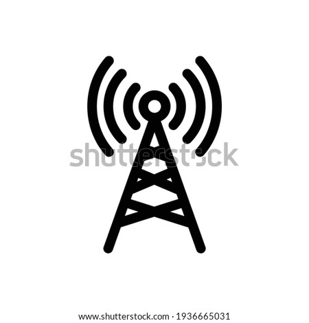 Radio tower icon. Linear style. Transmitter Icon. Cell phone tower vector icon. Wireless cellular, cell signal or radio network antenna line art icon for apps and websites