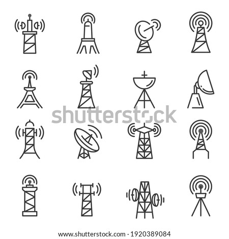 Radio towers, masts thin line icons set isolated on white. Satellite antenna, dish outline pictograms collection. Telecommunications, broadcasting structures vector elements for infographic, web. Stock fotó ©