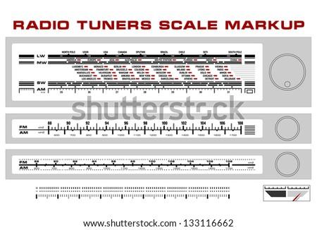 Radio tuner scale dashboard markup vector, 3 styles